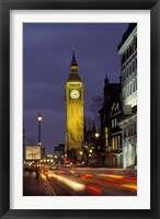 Framed Big Ben at night with traffic, London, England