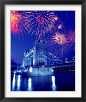 Framed Fireworks over the Tower Bridge, London, Great Britain, UK