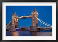 Framed Tower Bridge and River Thames, London, England
