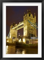 Framed Tower Bridge and River Thames at dusk, London, England, United Kingdom