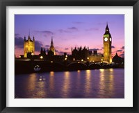 Framed Big Ben, Houses of Parliament and the River Thames at Dusk, London, England