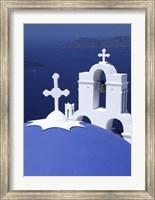 Framed Dome and Crosses of Greek Church, Santorini, Greece