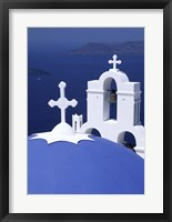 Framed Dome and Crosses of Greek Church, Santorini, Greece