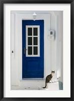 Framed Village Door with Cat, Kokkari, Samos, Aegean Islands, Greece