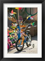 Framed Bicycle Outside Toy Shop, Lesvos, Mytilini, Aegean Islands, Greece