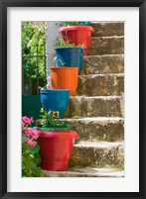 Framed Staircase with Flower Planters, Fiskardo, Kefalonia, Ionian Islands, Greece