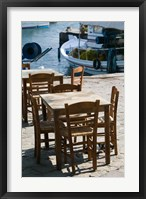 Framed Waterfront Cafe Tables, Skala Sykaminia, Lesvos, Mithymna, Northeastern Aegean Islands, Greece