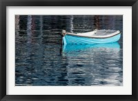 Framed Greece, Cyclades, Mykonos, Hora Blue Fishing Boat with Reflection