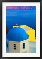 Framed Beautiful Church with Blue Roof, Oia, Santorini, Greece