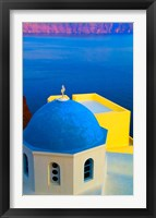 Framed Beautiful Church with Blue Roof, Oia, Santorini, Greece