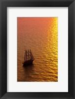 Framed Big masked sailboat, Oia, Santorini, Greece