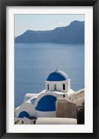Framed Blue church dome, Oia, Santorini, Greece