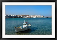 Framed Mykonos, Greece Boat off the island with view of the city behind
