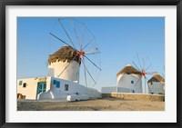 Framed Mykonos, Greece Famous five windmills at sunrise