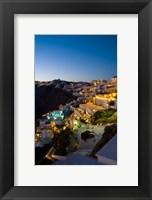 Framed White Buildings at Night, Fira, Santorini, Greece