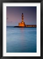 Framed Greece, Crete, Chania, Harbor, Venetian Lighthouse