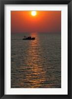 Framed Greece, Crete, Aegean sunset, Fishing Boat