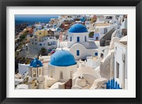 Framed Blue Domed Churches, Oia, Santorini, Greece