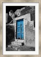 Framed Colorful Blue Door, Oia, Santorini, Greece