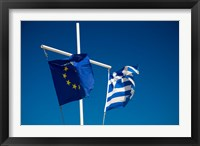 Framed Greece, Mykonos, Hora harbor, Union and Greek Flags