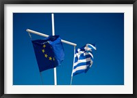 Framed Greece, Mykonos, Hora harbor, Union and Greek Flags