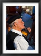 Framed Older Gentleman Playing The Violin, Imerovigli, Santorini, Greece