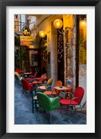 Framed Outdoor Cafe Seating, Chania, Crete, Greece