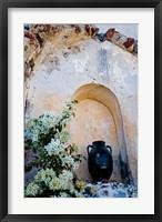 Framed Pottery and Flowering Vine, Oia, Santorini, Greece