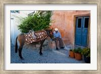 Framed Resting Elderly Gentleman, Oia, Santorini, Greece