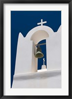 Framed Church Bell Tower against Dark Blue Sky, Santorini, Greece