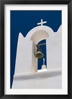 Framed Church Bell Tower against Dark Blue Sky, Santorini, Greece