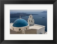 Framed Greek Orthodox Church and Aegean Sea, Santorini, Greece