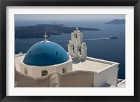Framed Greek Orthodox Church and Aegean Sea, Santorini, Greece