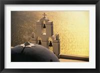 Framed Seaside church tower with bell, Santorini, Greece