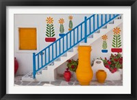 Framed Flowers and colorful pots, Chora, Mykonos, Greece