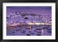 Framed Overview of Mykonos Town harbor, Mykonos, Cyclades Islands, Greece