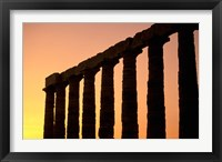 Framed Temple of Poseidon Columns at Sunset, Cape Sounion, Attica, Greece