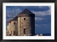 Framed Windmills along Mandraki Harbor, Rhodes, Greece