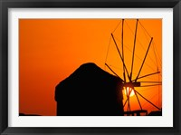 Framed Sunrise with Mykonos Windmills, Mykonos, Cyclades Islands, Greece