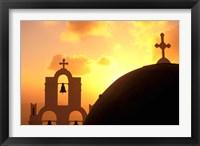 Framed Kimisis Theotokov Church at Sunset, Thira, Santorini, Cyclades Islands, Greece