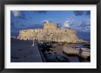 Framed Fort St Nicholas and Mandraki Harbor, Rhodes, Greece