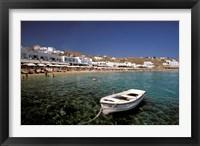 Framed Platis Gialos Beach, Mykonos, Cyclades Islands, Greece