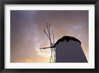 Framed Windmill at Sunrise, Mykonos, Greece