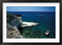 Framed Gerontas, White Sandstone Rock of Aegean Sea, Milos, Greece
