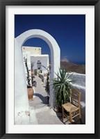 Framed Chora Houses, Blue Aegean Sea, and Agave Tree, Cyclades Islands, Greece