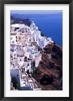 Framed White Buildings in Oia Santorini, Athens, Greece