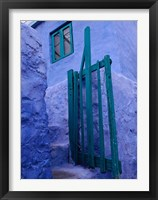 Framed Green Gate on Kalymnos Island, Dodecanese Islands, Greece