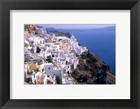 Framed Mountains with Cliffside White Buildings in Santorini, Greece