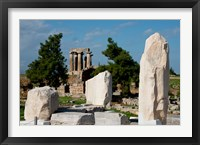 Framed Greece, Corinth Doric Temple of Apollo Greece behind The Rostra