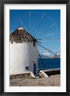 Framed Greece, Cyclades, Mykonos, Hora Historic Cycladic style Windmill
